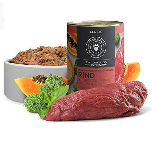 PETS DELI - NATURAL PET FOOD Hundefutter nass 2,4 kg - 6er-Pack | Rind mit Brokkoli, Papaya, Amaranth und...