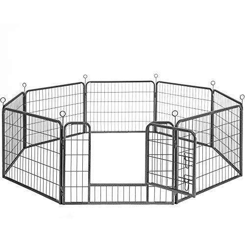 FEANDREA Welpenauslauf, Freigehege für Hund, 8 Gitter je 77x60cm, grau PPK86G