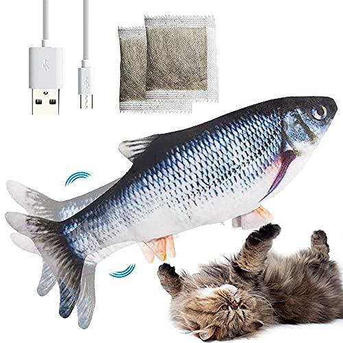 Katzenspielzeug Fisch Elektrisch mit Katzenminze,Katzen Spielzeug Fisch,Wiederaufladbar USB Kabel,2 Packs...