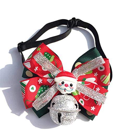 Canghai Weihnachts-Fliege, verstellbar, Haustier-Halsband, große Glocke mit Weihnachtsmann, für Welpen,...