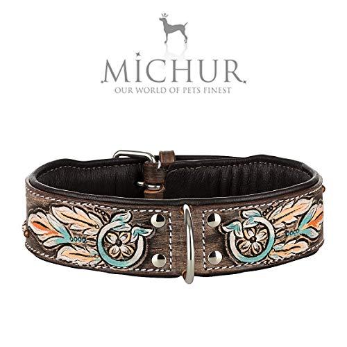 MICHUR Halona Hundehalsband Leder, Lederhalsband Hund, Halsband, Leder, Indianer, Schwarz Braun, in...