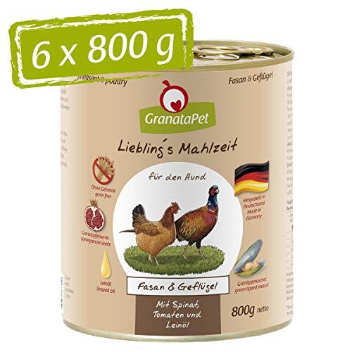 GranataPet Liebling's Mahlzeit Fasan & Geflügel, Nassfutter für Hunde, Hundefutter ohne Getreide & ohne...