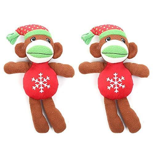 ADIE Hundeplüschspielzeug 2 Stück Weihnachtsaffe Form Hund Kauen Plüschspielzeug mit eingebautem...