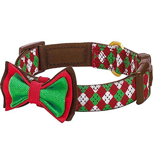 Blueberry Pet 1,5cm S Weihnachtsfeier Hundehalsband im Argyle-Stil mit Fliege, Kleine Halsbänder für...