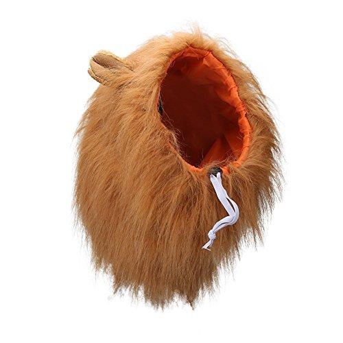 Vivifying Hundekostüm Löwenmähne, Verstellbar Hunde Perücke mit Ohren für Mittlere und Große Hunde...