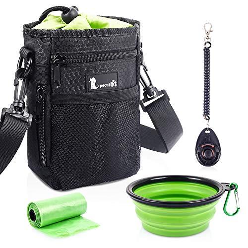 Pecute Futterbeutel Hund 4 in1 Wasserdicht Hunde Futterbeutel mit Kotbeutel Spender, Verfügbares Tasche...