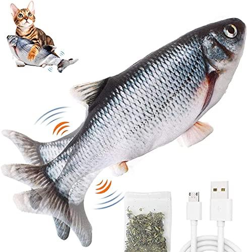 BTkviseQat Katzenspielzeug Fisch elektrisch,interaktives Spielzeug USB zappelfisch Plüsch Fische...