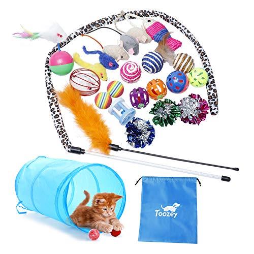 Katzen Spielzeug Toozey Katzenspielzeug Set mit Katzentunnel, Bälle, Federspielzeug, Plüschspielzeug,...