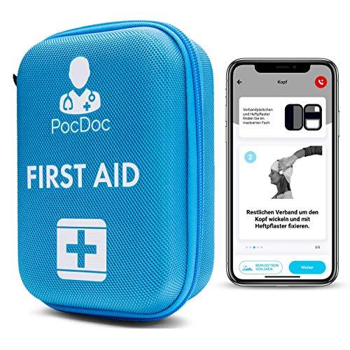 PocDoc Outdoor - Intelligentes Erste Hilfe Set nach DIN 13167 mit APP (Menschen & Tiere)- Reisen, Sport &...