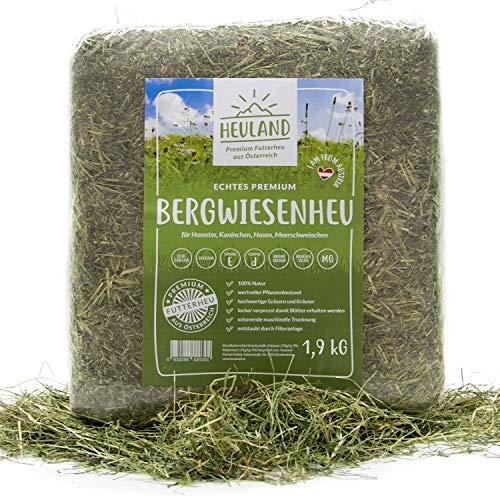 HEULAND® Premium Heu 1,9 Kilo Frisches Bergwiesenheu für Kleintiere Kaninchen Kräuter Hamster Streu...