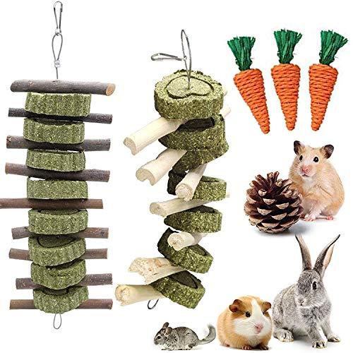 Hase Kauspielzeug, 6 Stück Kaninchenspielzeug,Natürliche Apfelsticks Zähneknirschen Spielzeug für...