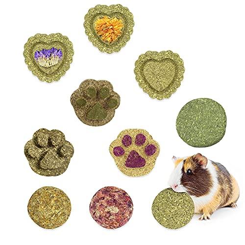LMYKH Kleintierspielzeug, Pet Snack Spielzeug mit Gras Kuchen Natürliche Graskugel für Kaninchen,...
