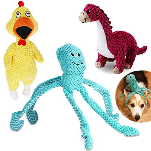 VIEWLON Hundespielzeug Quietschendes, 3er Hund Plüschspielzeug Set, Langlebiges Kauspielzeug,...