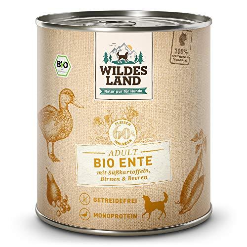 Wildes Land - Nassfutter für Hunde - Bio Ente - 6 x 800 g - Getreidefrei - Extra hoher Fleischanteil von...