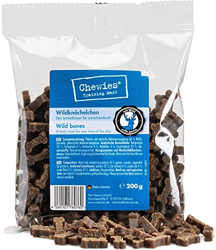 Chewies Hundeleckerli Training Mini Wild Knöchelchen - 125 g - Hundesnacks zuckerfrei & mit hohem...