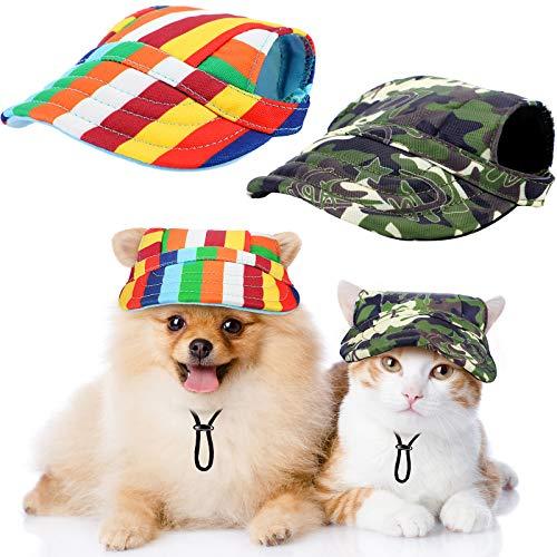 Hunde-Baseballkappe Haustierkappe verstellbar mit Ohrlöchern Outdoor Sport Visier Hut (Streifen,...
