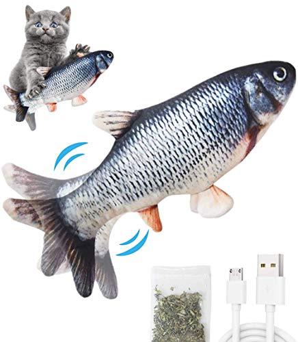 Pkeluozi Katzenspielzeug Elektrisch Fischs,interaktives zappelnder Fisch Spielzeug für Katzen USB...