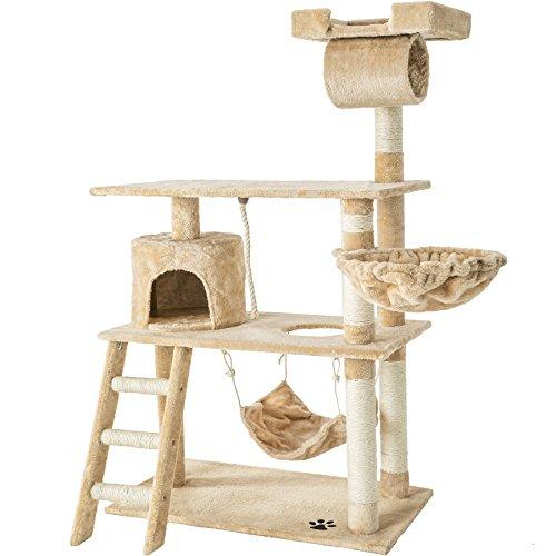 TecTake 800294 Katzen Kratzbaum mit vielen Kuschel- und Spielmöglichkeiten, 141cm hoch, extra breit -...