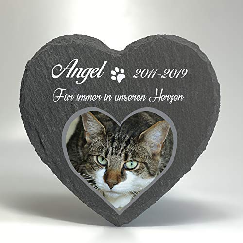 Individueller Personalisiert Herzform Tiergrabstein Schiefer Gedenkstein für Hund, Katze und andere...