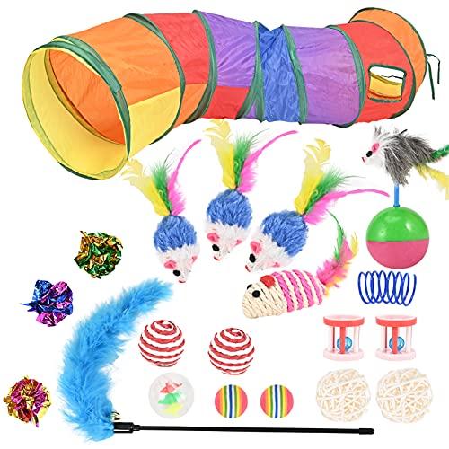 20 Stück Katzenspielzeug Set mit Katzentunnel, Bälle, Federspielzeug, Plüschspielzeug, Spielzeugmäuse...