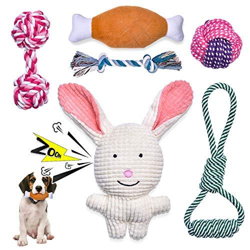 Feeko Squeaky Plüsch-Hundeseilspielzeug 6er-Pack für Welpen, Bulk mit Quietschern für kleine und...