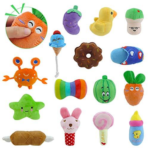 15er Pack Hund Quietschspielzeug, Welpenspielzeug, Welpen Zahnen Spielzeug, Haustier Hund Plüsch...