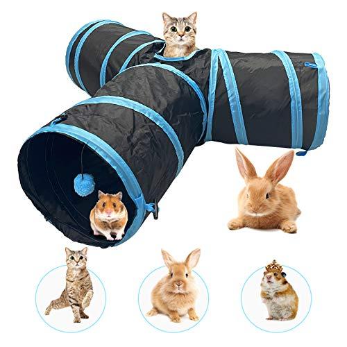 Katzentunnel Kaninchen Tunnel Hamster mit 3 Weg Ball Pet Play Tunnel Tube Katzen Guckloch für Kleine...