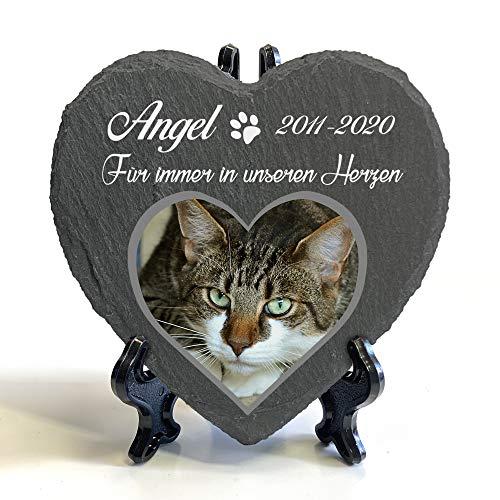 Individueller Personalisiert Herzform Tiergrabstein Schiefer Gedenkstein + Ständer für Hund, Katze und...