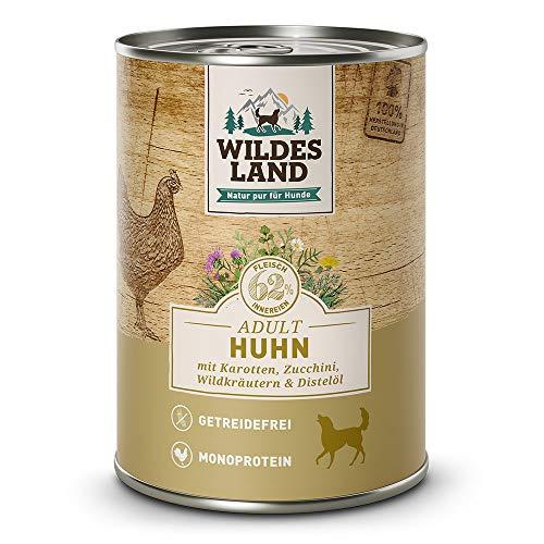 Wildes Land | Nassfutter für Hunde | Nr. 2 Huhn | 24 x 400 g | mit Karotten, Zucchini, Wildkräutern &...