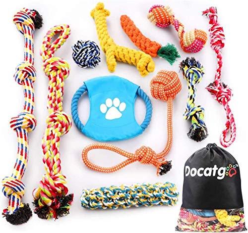 Docatgo Hundespielzeug für Hunde, interaktiv, natürlich, robust, robust, unzerstörbar, mit Tasche,...