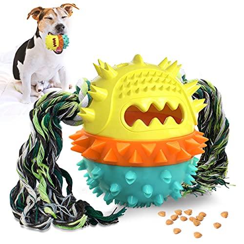 KINGLEAD Hundeball mit Zahnpflege,Kauspielzeug Hund,Hundespielzeug Unzerstörbar,Quietschendes...