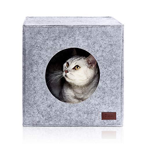 PiuPet® Katzenhöhle inkl. Kissen, Passend für z.B. IKEA® Kallax & Expedit Regal, Kuschelhöhle in...