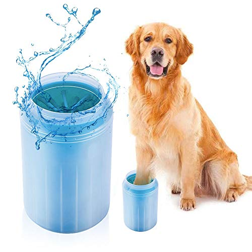 Pfotenreiniger für Hunde, Tragbarer 2 in 1 Hunde Pfotenreiniger mit weicher Silikonbürste, Schnell und...