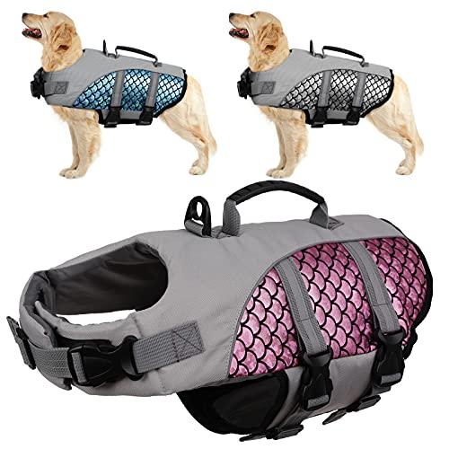 Kuoser Hunde Warnweste mit Hoher Sichtbarkeit, Verstellbarer Schwimmweste für Haustiere mit...