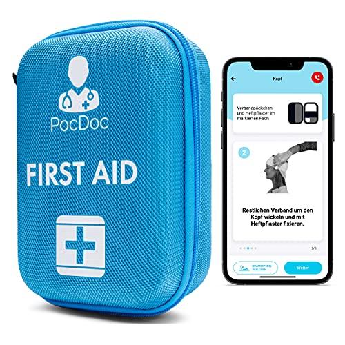 PocDoc Outdoor - Smartes Erste-Hilfe Set nach DIN 13167 mit APP - Reisen, Sport & Motorrad + Pinzetten &...