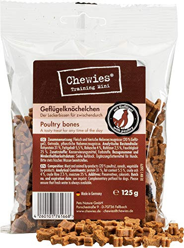 Chewies Hundeleckerli Geflügel Knöchelchen - 125 g - Trainingsleckerli für Hunde - Fleisch Softies...
