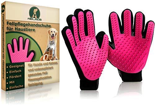 NELADE® Fellpflege-Handschuh als Fellbürste für Katzen-Haare, Hunde-Haare & Pferde - nimmt lose Haare...