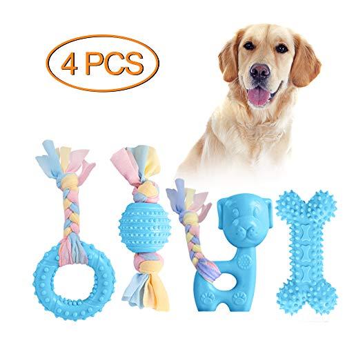 JYPS Puppy Chew Toys, 4-TLG Spielzeugset zum Zahnen von Hunden mit Ball und Baumwollseilen, Aggressives...