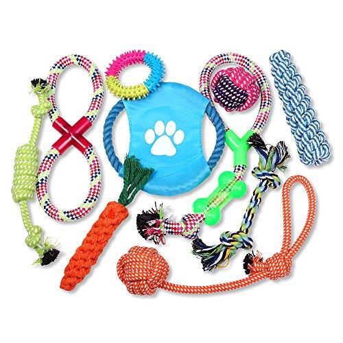 Schramm® 10- teiliges Hunde Spielzeug aus Seil Kauspielzeug Dog Hund Kauspielzeug Baumwollknoten...