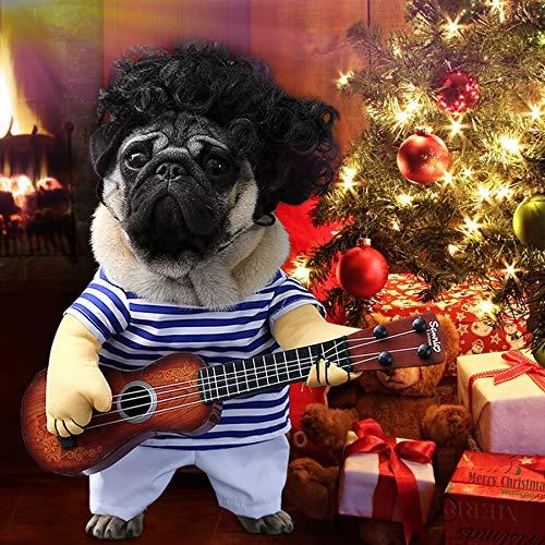 Idefair Lustige Gitarrenhund Kostüme Haustierbekleidung Hundekleidung Anzug für Welpen Kleine Mittlere...