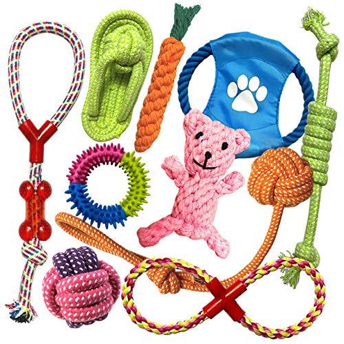 TINGERIA® Hundespielzeug für kleine & mittelgroße Hunde, 10-teiliges Welpenspielzeug Set, Hunde...