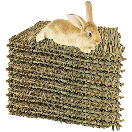 Varadyle 15 Stück gewebte Bettmatten für Kaninchen, Grasmatte und Kaninchennest, natürliches...