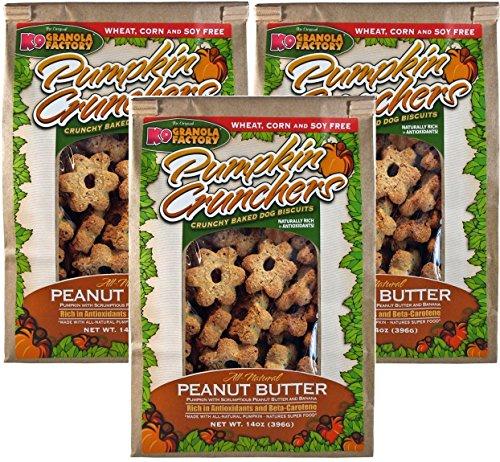 K9 Granola Factory Pumpkin Crunchers Hundeleckerlis, Erdnussbutter und Banane, ca. 400 ml, 3er-Pack
