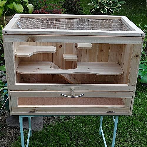 HUIJK Nagerkäfig Kleintierstall Mäusekäfig Holz Verschiedene Etagen Hamsterkäfig