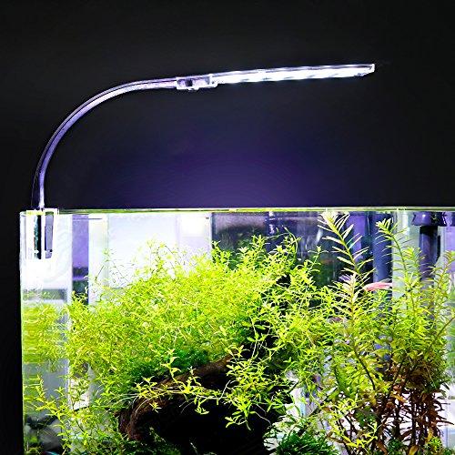 Decdeal Aquarium LED Beleuchtung Lampe 24 LED Klemmleuchte Clip-on Lampe mit EU-Stecker 10W