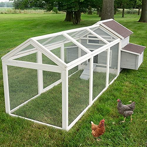große Hühnervoliere – mit Regen- und Sonnenschutz – Hühnerstall aus massivem Vollholz & stabilem...