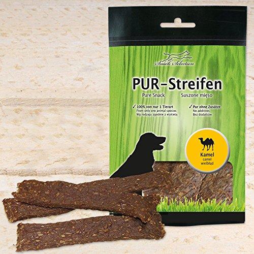 Schecker 12 x 100g PUR Streifen Kamel - weich und zäh - 100% Fleisch von Einer Tierart - getreidefreier...