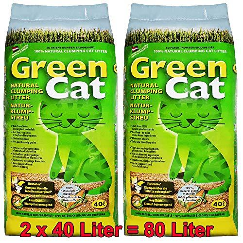 Greencat 2x40 Liter = 80 Liter Katzenstreu Klumpstreu Maisstreu