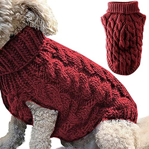 Rollkragen-Strickpullover für Haustiere, Winterwärmer, dicker Pullover, Strickwaren, Häkelmantel,...