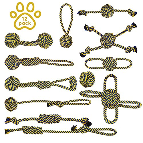 Hundespielzeug Seil Set ,Aus Reine Baumwoll, Gelb und Blau sind die Lieblingsfarben von Hunden...